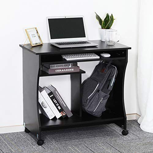 Lemaijiaju Movable Computer Desk Table Study Workstation With Sliding Keyboard Tray On Wheels In 2020 Workstation Desk Computer Desk