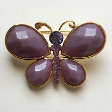 Gold plated butterfly shape brooch with rhinestones and checkerboard c... Lot 65