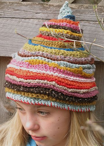 many colored crocheted hat by karnakarna designs, via Flickr
