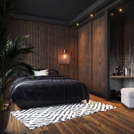 """Decoração Masculina on Instagram: """"Olha só como a parede de madeira traz um ar de aconchego ao quarto 🙌 ______________ 📷 @pinterestbr ✏️ #arquitetura #decor #decoracao…"""""""