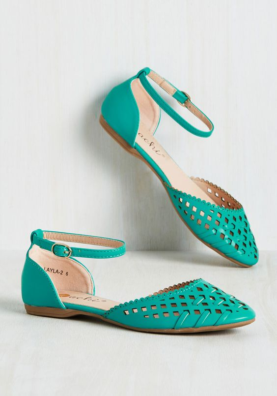 cute perforated flats in teal