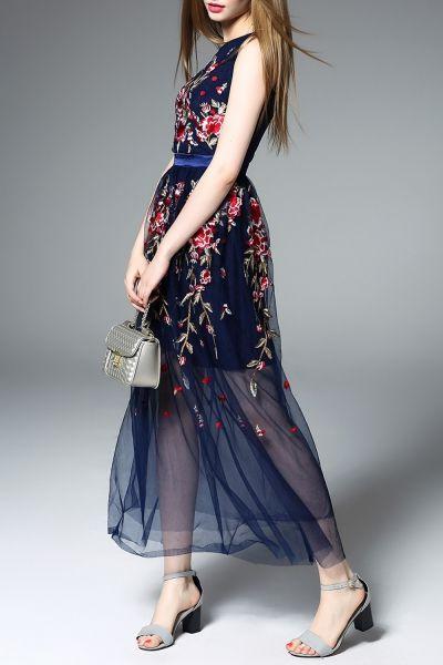 Zeraco bordado floral azul Tulle Vestido |  Maxi vestidos em DEZZAL: