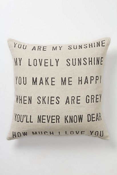 You Are My Sunshine Pillow #anthropologie