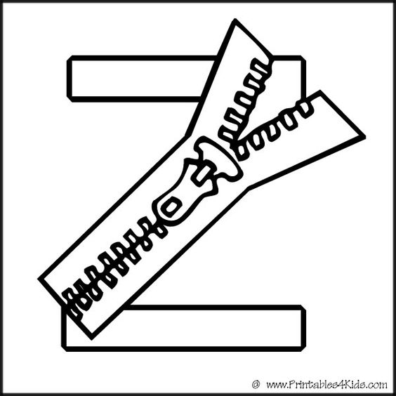 Alphabet Coloring Page Letter Z Zipper Printables For