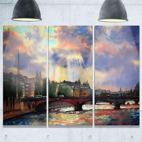 Fabulous Paris City Watercolor - graphy Glossy Metal Wall Art - 36Wx28H