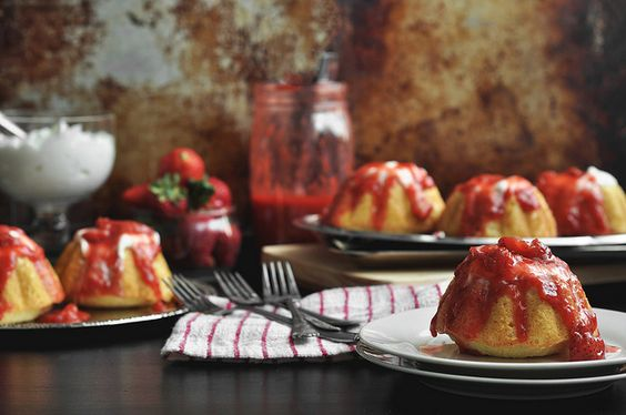 Rum Pound Cakes w/ Strawberry Rhubarb Compote | The Candid Appetite