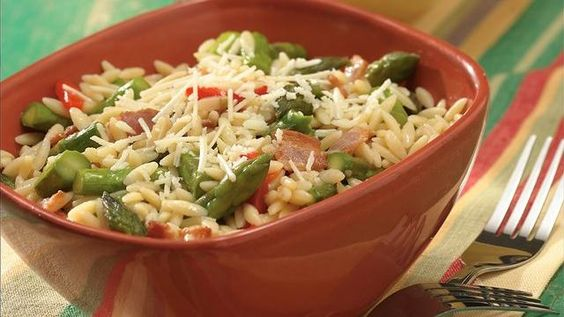 Orzo, Asparagus and Bacon on Pinterest