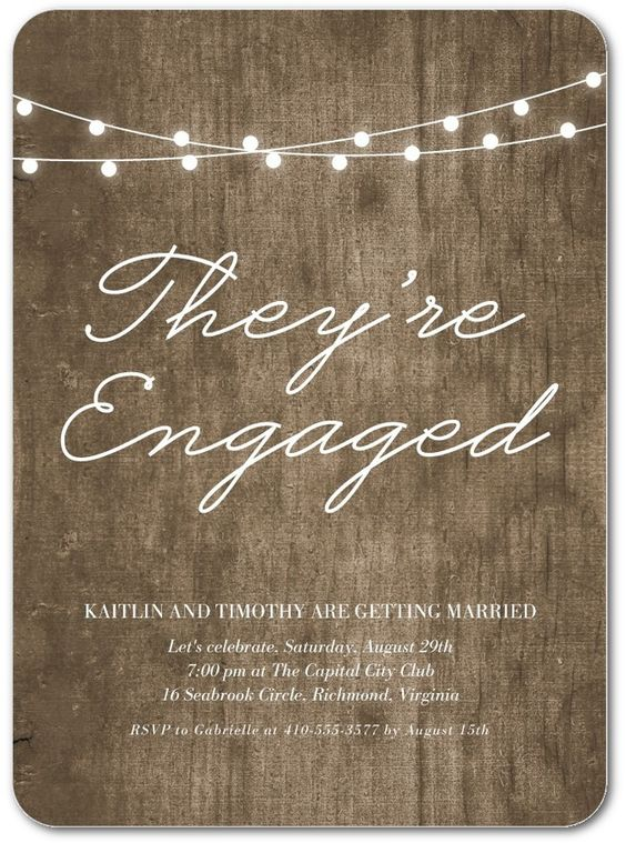 Luminous Feeling - Signature White Engagement Party Invitations in Chocolate or Black | Magnolia Press