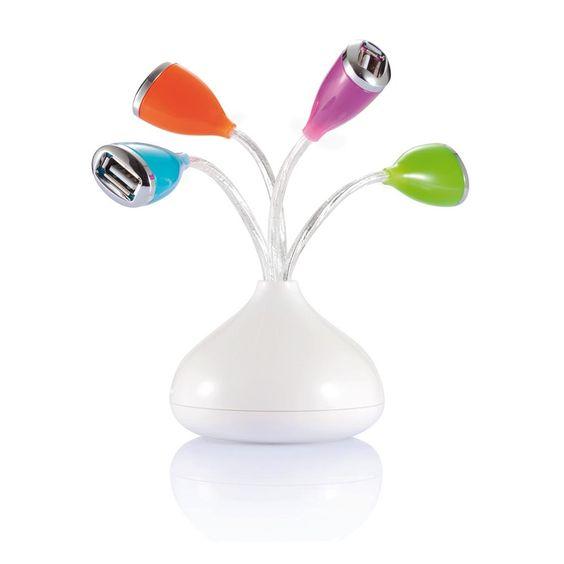 Fiore con 4 porte hub USB e LED . Simpatica porta hub USB a forma di fiore. La base è in ABS con cavetti bianchi che diventano rossi quando sono collegati. Le porte sono arancioni, blu, rosa e verde.