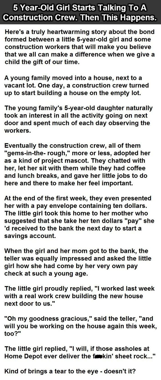 5 Year Old Girl Starts Talking To A Construction Crew Then This   Construction  Worker