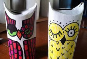 "Toilet paper owls- you could put ""woooo loves you?  I do!!"" for Valentines treats and fill with goodies!!!!!!"