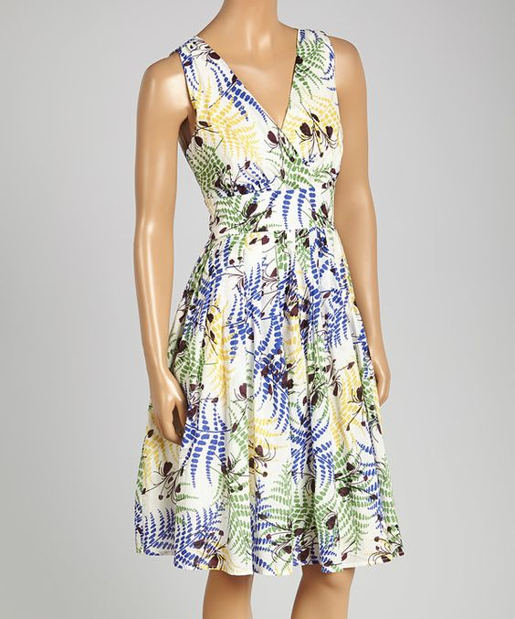 Look at this Aryeh Blue & Cream Floral V-Neck Dress on #zulily today!
