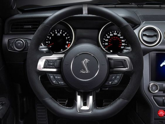2015 Mustang: The Shelby GT350R Mustang has a massive padded steering wheel, all business....