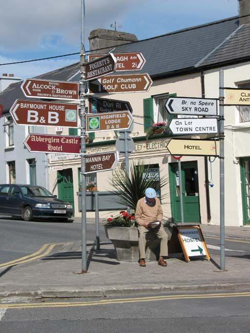 Crossroads, Clifden, Co. Connemara, Ireland #signs
