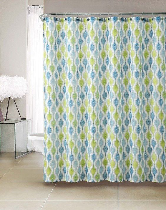 Pretty Bright Blue Green Embossed Microfiber Shower Curtains 72