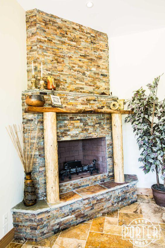 Custom Fireplace Mantel Created From Live Edge Alligator Juniper Slabs Porter Barn Wood