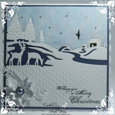 handmade Christmas Card using Wild Rose Studio New Release Papers - Winter Bauble Sentiment - Swirly Greetings Dies - Christmas Scene, Holly Frame and Poinsettia Downrightcrafty