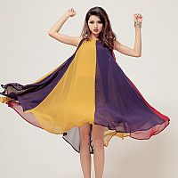 Collision color chiffon dress!