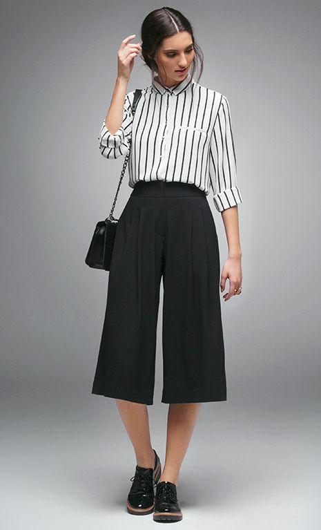 Women's summer fashion stripe T shirt+black wide leg loose cropped trousers