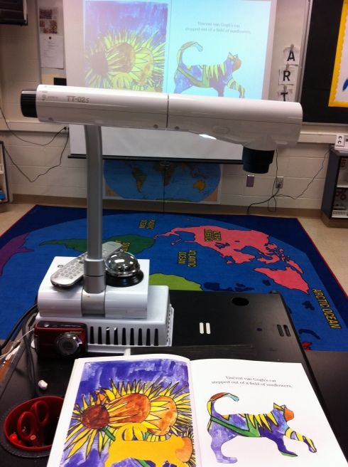 Ways to use elmo or document camera in the art room: projecting demos, still-life and books.