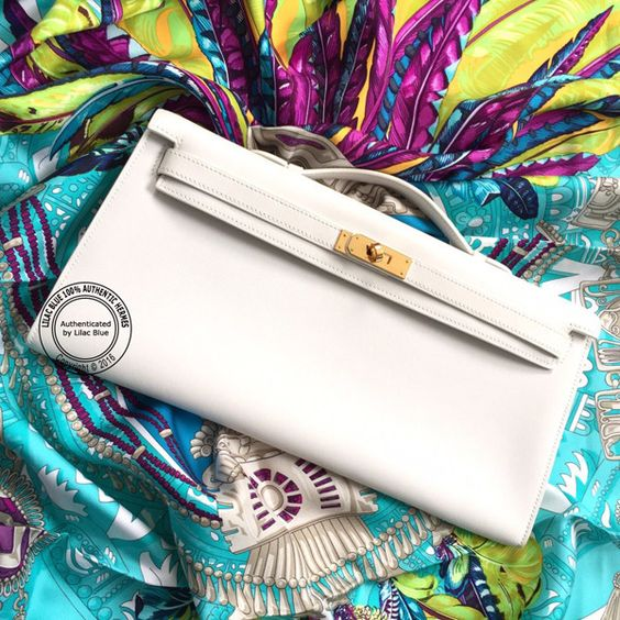 birkin style leather bag - White Kelly Pochette Cut in Swift Leather with Gold Hardware. Chic ...