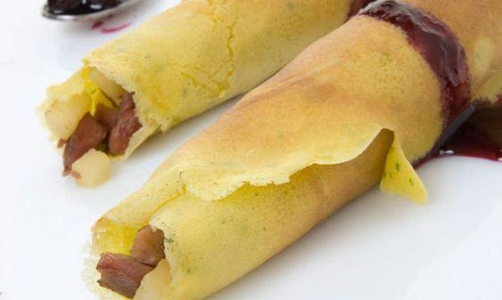 Receta de Crepes de pato con mermelada de arándanos