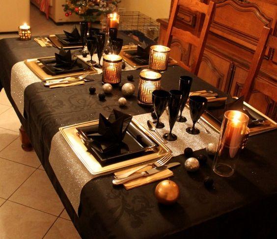 Table De Fete Noir Or Et Argent Celebration Time Pinterest Noel And Tables