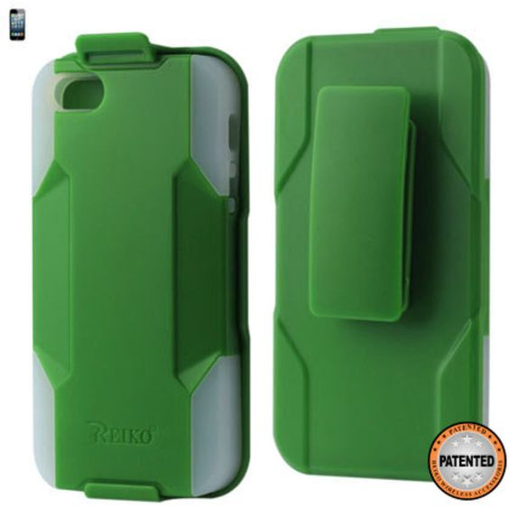 Reiko Silicone Case + Protector Cover Iphone5 Holster With Clip Green Clear