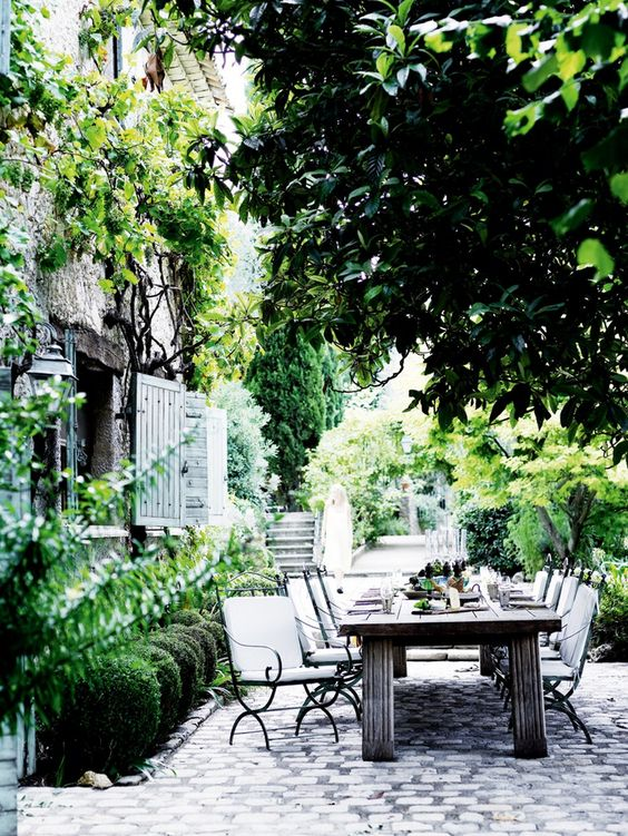 Truly the ultimate in outdoor dining.   Beautifully renovated 500 year old olive mill in Provence.  Photo credit: Mikkel Adsbøl
