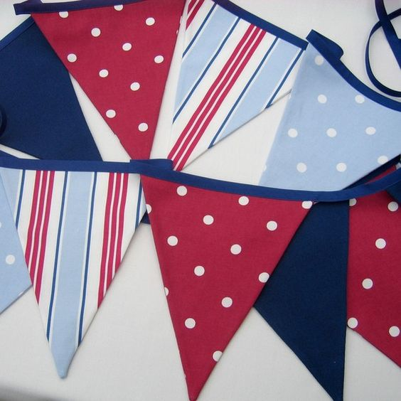 Fabric Bunting  Nautical Style  Red White by AllTheTrimmingsUK, $17.00