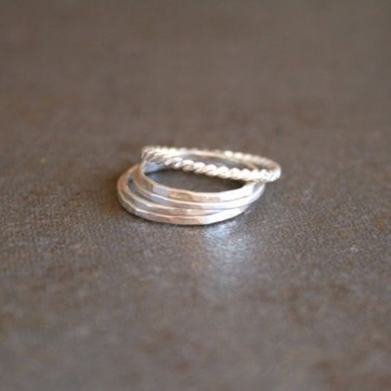 Stacking Rings - Set of Five Sterling Silver. #stacking #sterling #silver  #ring #jewelry  9thelm.com