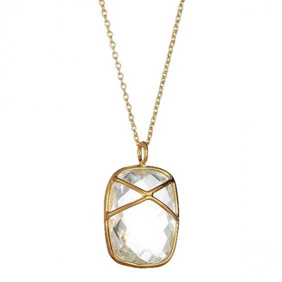 Crystal Quartz Criss Cross Pendant.  #necklaces #jewelry  9thelm.com