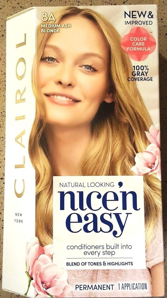 Nice N Easy Clairol 8a Medium Ash Blonde Permanent Hair Color