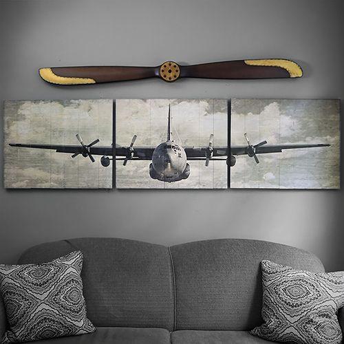 C 130 Hercules Wooden Aviation Triptych In 2020 Dekor 50er Deko