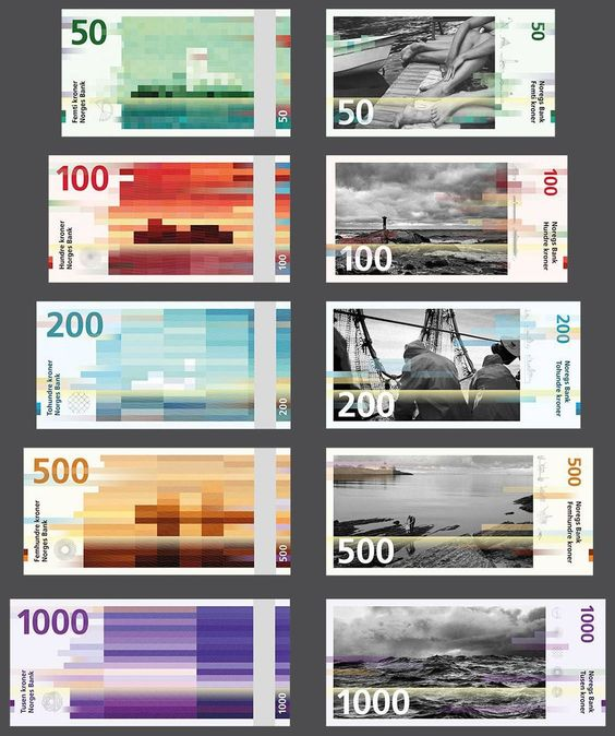 Novo design do kroner, a moeda norueguesa.