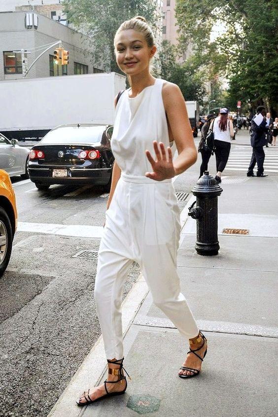 Model-Off-Duty Style: Get Gigi Hadid's Cool White Jumpsuit Look (via Bloglovin.com )