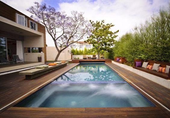 Fresh rechteck poolgestaltung im garten hohe pflanzenbeete Pool und Garten Pinterest Saunas