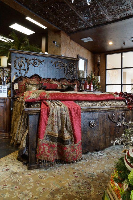 Midland texas custom bedding and beds on pinterest for Rustic elegant bedroom designs