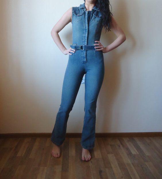 Women Denim Jumpsuit One Piece Romper Pants Blue Jean Fitted ...