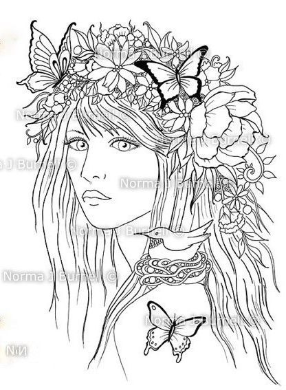 Artwork by Norma J Burnell. Adult Coloring