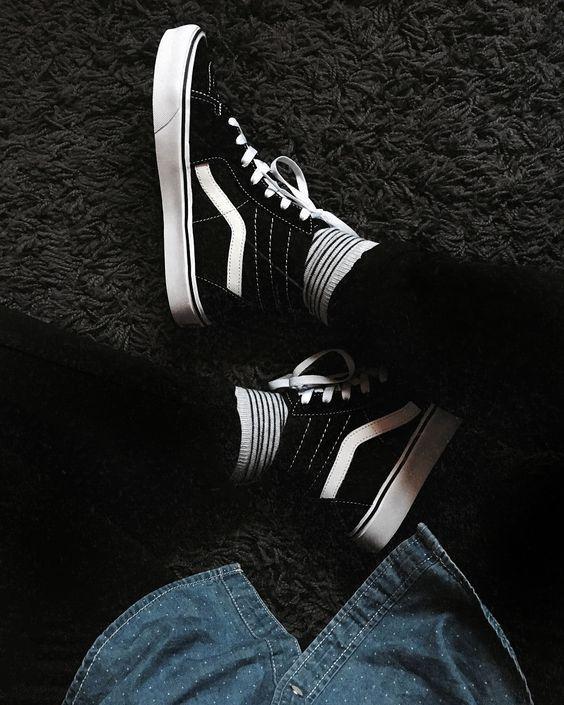 Vans, Old Skool, Black and White | Vans sk8 hi outfit, Sk8