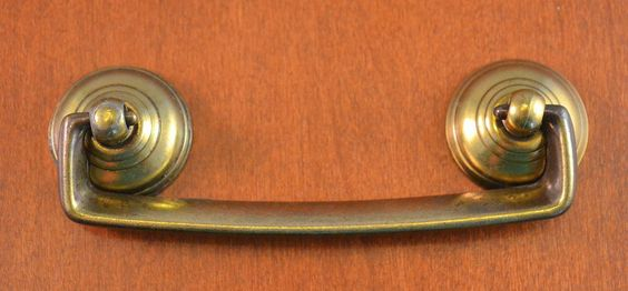 "ANTIQUE Keeler Brass Furniture Pull  Holes 3 1/2"" Apart ""Quality"" SHINY Ends #KeelerBrassCo"