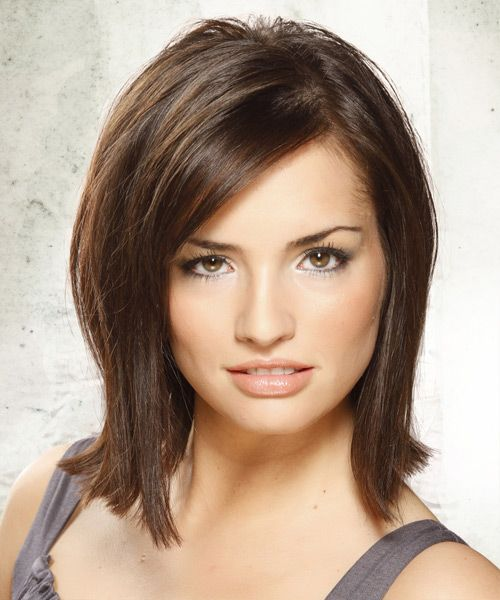 medium length blunt haircuts this gorgeous brown bob is blunt cut through the back with 5136