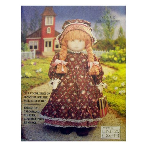 "Vogue Craft 18"" Early American Cloth Doll and Clothes by Linda Carr Sewing Pattern 8336 UNCUT Colonial Dress and Bonnet"