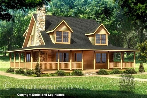 My dream home i want a log cabin house beaufort 1750 sq for Full wrap around porch log homes