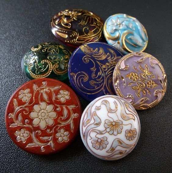 Colourful VIctorian Glass Buttons