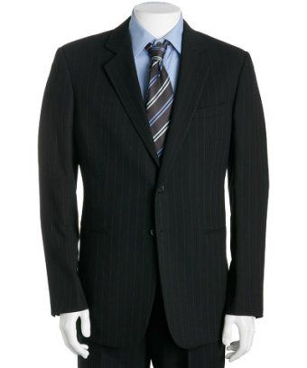 Black Pinstripe Merino Wool Suit [Black Pinstripe Wool] -  Custom Suits, | Shirts | Sport | Coats | Tailor