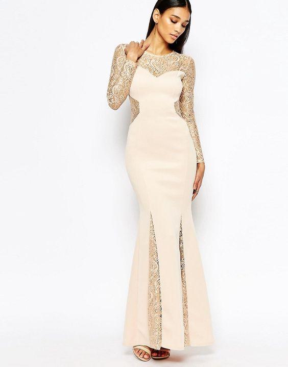 Image 1 ofLipsy Lace Insert Maxi Dress