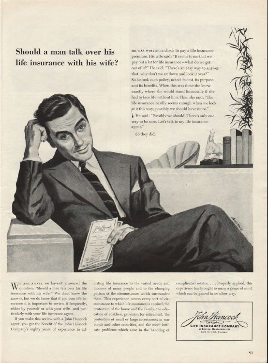 1944 John Hancock Life Insurance Company Vintage Ad Should A Man