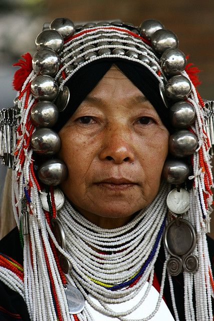 Akha - the traditional outfit of an Akha woman... a population living in mountain villages of several countries in South East Asia...